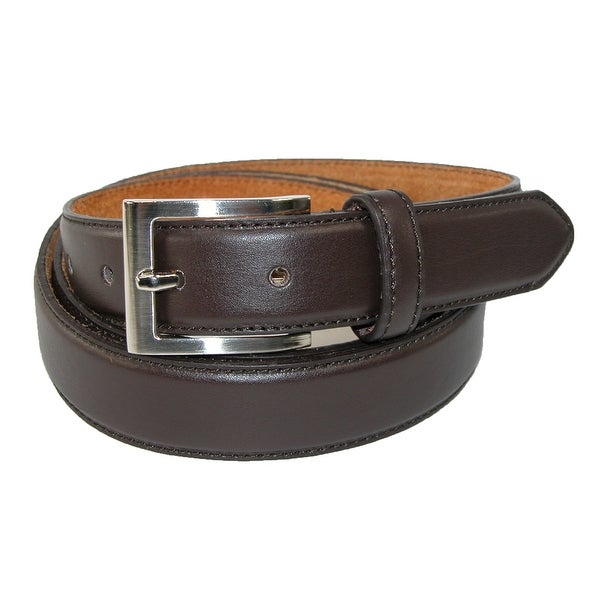 CTM® Men's Big & Tall Leather Basic Dress Belt with Silver Buckle
