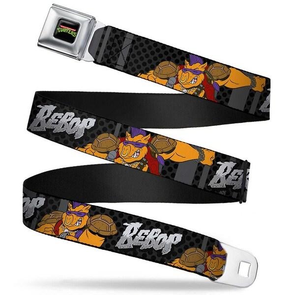 Classic Tmnt Logo Full Color Bebop 2 Poses Stripes Dots Black Grays Webbing Seatbelt Belt