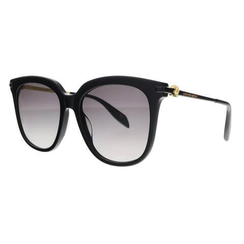 Alexander McQueen AM0107S 001 Black Rectangle Sunglasses - 55-19-135