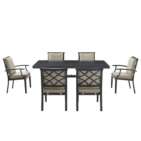 Martha Stewart Ashton 7-Piece Outdoor Dining All-Weather Resistant Set Brushed Dark Gray