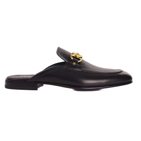 d8c3dd4a8938 ... Men s Shoes. Versace Men  x27 s Black Leather Gold Medusa Embellished  Mules