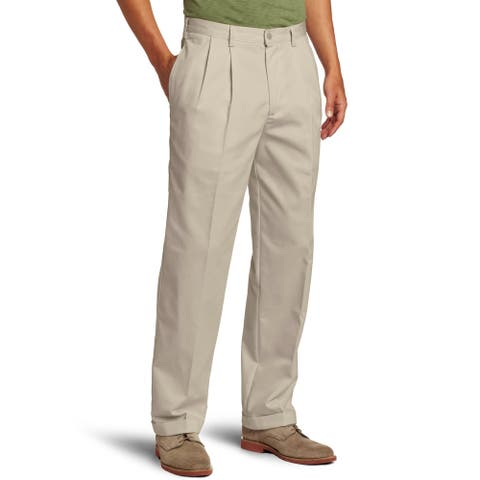 IZOD Mens Pants Beige Size 42x34 Pleated Front Cuffed Classic Fit