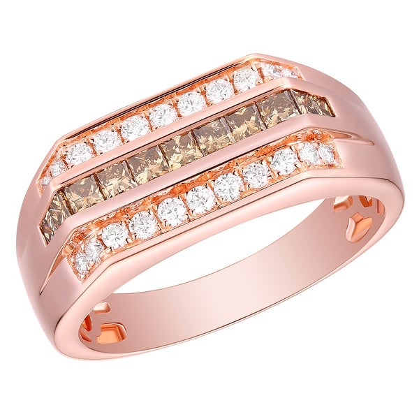 Prism Jewel 0.98Ct SI1 Princess Brown Diamond & G-H/I1 Natural Diamond Men's Anniversary Ring
