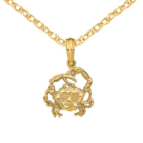 14K Yellow Gold 2-D Textured Crab Charm with 18-inch Cable Rope Chain by Versil