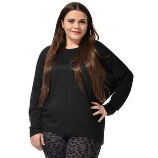 Allegra K Women's Plus Size Decorative Buttons Back Tee Shirt - Black