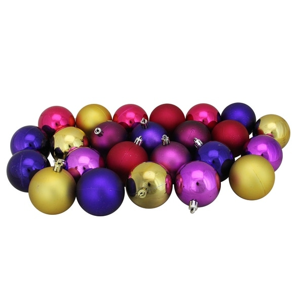 "24ct Pink, Purple and Gold Shatterproof Shiny and Matte Christmas Ball Ornaments 2.5"" (60mm)"
