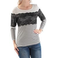 Womens Black Striped 3/4 Sleeve Jewel Neck Casual Top  Size  S