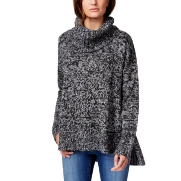 Say What? Juniors Marled Cowl Neck Pullover Split Side Sweater Tunic - s
