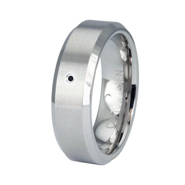 Beveled Edge Superior Cobalt Ring with Black Diamond