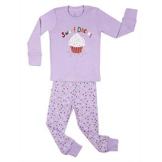 "Elowel Girls Purple Cupcake ""Sweet Dreams"" Print 2 Pc Pajama Set 7-12"
