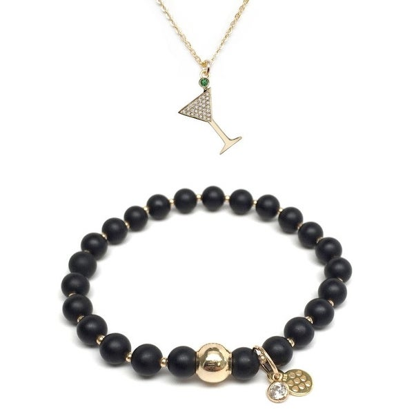 "Black Onyx 7"" Bracelet & CZ Martini Glass Gold Charm Necklace Set"