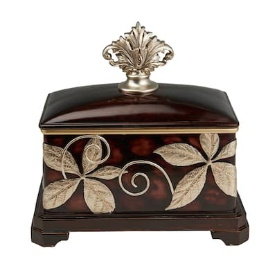 Jewelry Box with Foliage Pattern and Lid, Brown