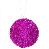 3 in. Bright Fuchsia Sequin And Glitter Drenched Christmas Ball