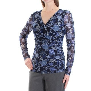 INC $60 Womens New 1545 Blue Floral Long Sleeve V Neck Faux Wrap Top M B+B