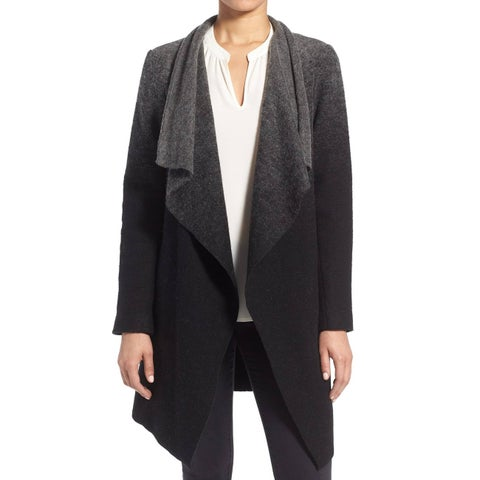 BB Dakota Black Kinney Ombre Women's Size Medium M Drape Coat