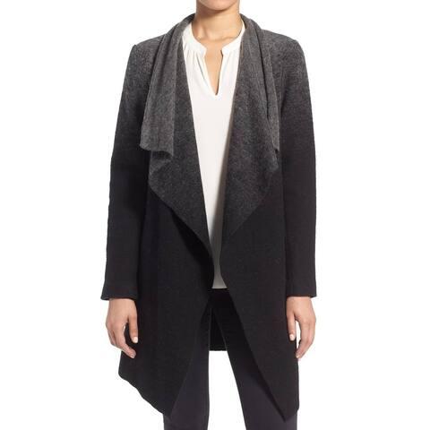 BB Dakota Black Kinney Ombre Women's Size Medium M Drape Coat