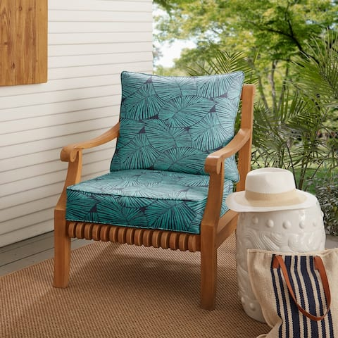 Blue Tropical Indoor/ Outdoor Deep Seating Pillow and Cushion Set