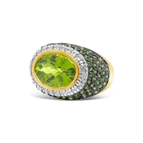 Encore by Le Vian Tsavorite, Peridot & Diamond 14K Yellow Gold Ring