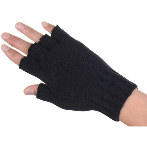 BYOS Unisex Solid Soft One Layer Half Finger Fingerless Knitted Gloves