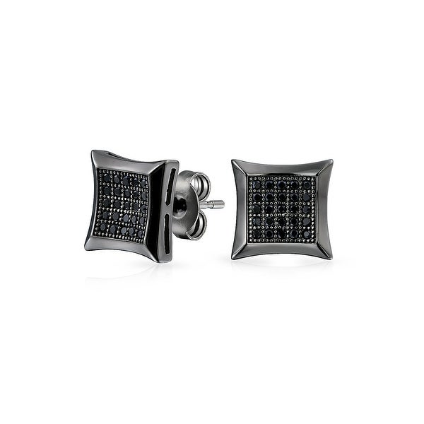 Bling Jewelry Micro Pave Cz Kite Studs Black Rhodium Plated Silver