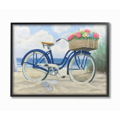 Stupell Industries Bike with Flower Basket Beach Blue Nautical Painting Framed Wall Art