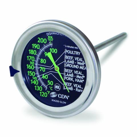 CDN IRM200-GLOW - ProAccurate Meat/Poultry Oven Thermometer-Extra Large Dial - Silver