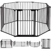 Costway 8 Panel Metal Gate Baby Pet Fence Safe Playpen Barrier Wall-mount Multifunction - Black