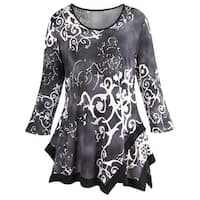 Women's Grey Swing Tunic Top - Damask Pattern, Asymmetrical Hem, 3/4 Sleeves