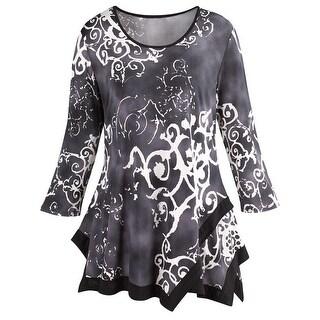 Women's Grey Swing Tunic Top - Damask Pattern, Asymmetrical Hem, 3/4 Sleeves