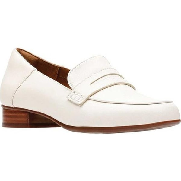 1be3b45e059 Shop Clarks Women s Keesha Cora Penny Loafer White Leather - Free ...
