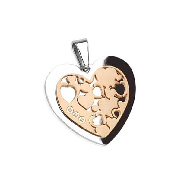 Stainless Steel Heart with Plated Rose Heart Gemmed Pendant (30 mm Width)
