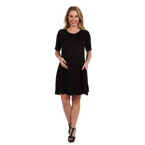 24seven Comfort Apparel Knee Length Maternity Pocket T Shirt Dress