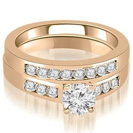 1.50 cttw. 14K Rose Gold Channel Set Round Cut Diamond Bridal Set