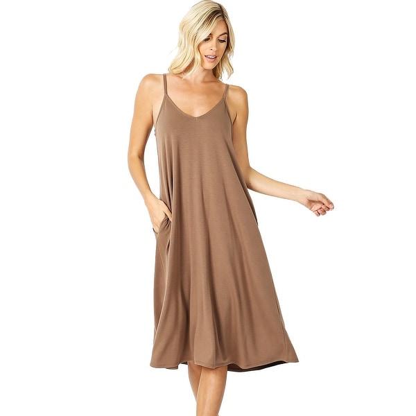 JED Women's Adjustable Strap Flowy Knee-Length Tank Dress. Opens flyout.