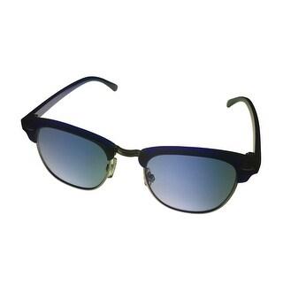 Kenneth Cole Reaction Sunglass Blue/Slvr Wayfarer, Blue Gradient Lens KC1204 90W - Medium