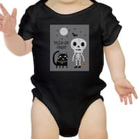 Skeleton Black Cat Baby Halloween Bodysuit Black Gift For Baby Girl