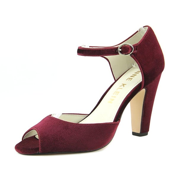 Anne Klein Henrika Women Peep-Toe Canvas Burgundy Mary Janes