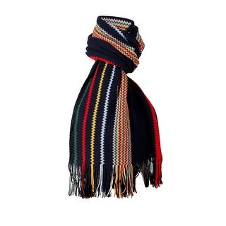 Link to Missoni Navy Blue Crochet Knit Oversized Zigzag Fringe Scarf - 20-84- Similar Items in Scarves & Wraps