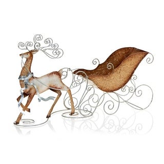 "15.5"" Gold and Silver Metal and Capiz Shell Reindeer and Sleigh Christmas Candle Holder"