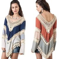 Manual Crochet Hollow Swimwear Beach Backless Sunscreen Tops Shirt Women Top