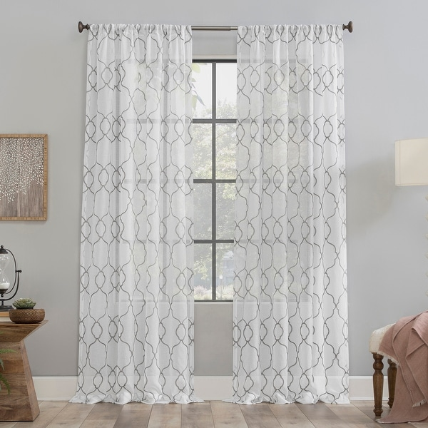 Clean Window Embroidered Trellis Anti-Dust Sheer Curtain Panel. Opens flyout.