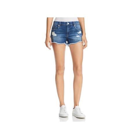 [BLANKNYC] Womens Astor Denim Shorts Distressed Cut-Off