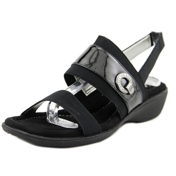 Shop Anne Klein Sport Hida Women Open-Toe Canvas Black