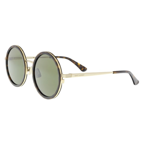 7182ebc2880 Shop Saint Laurent SL136 COMBI-004 Havana Gold Round Sunglasses - 52 ...