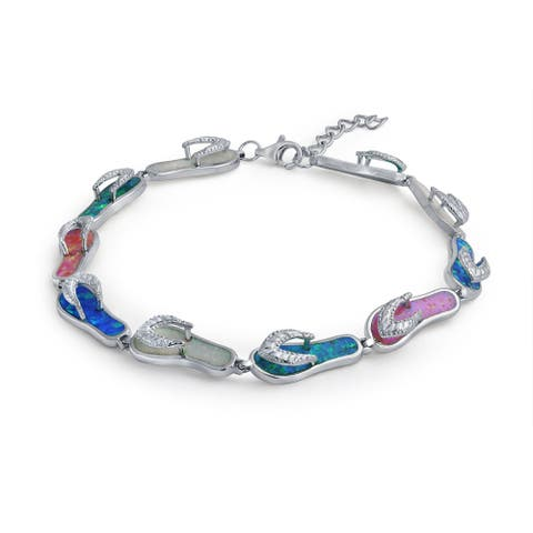 Tropical Vacation Flip Flop al Created Opal Bracelet Sterling Silver