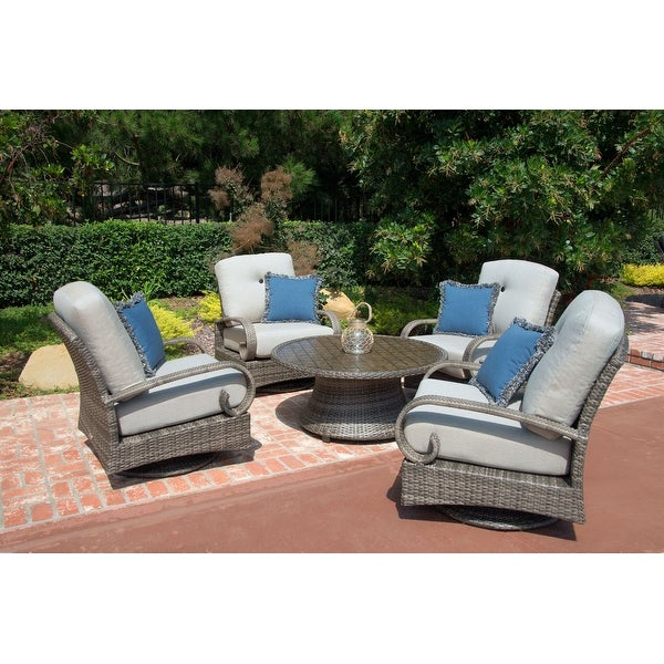 Barcalounger Outdoor Living Captiva Isle 5pc Patio Conversation Set with 4 Swivel Glider Chairs. Opens flyout.