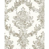 Graham and Brown 101469 56 Square Foot - Opal Damask White and Gold - Non-Pasted Vinyl Wallpaper