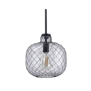 """Miseno MLIT143851 1-Light 10"""" Wide Nautical Style Pendant - Seeded Glass Shade with Mesh Wire Cover - Olde Bronze - n/a"""