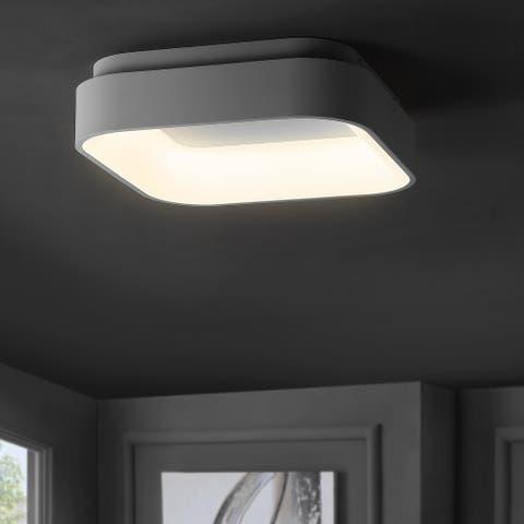 Rafael Integrated LED Metal Flush Mount, White by JONATHAN Y