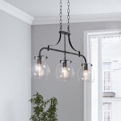 """Modern 3-light Linear Bubble Glass Island Pendant Lights for Dining Room - L25""""x W 5""""x H 14"""""""